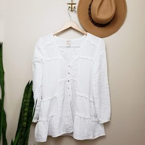 Sundance Tops - sundance white cotton button up tunic top XS